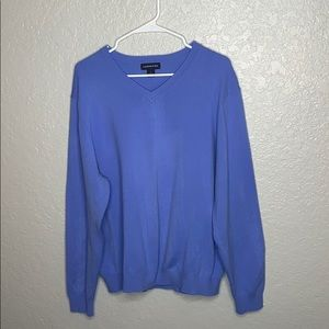 LAND'S END long sleeve blue V-neck pulloverSweater